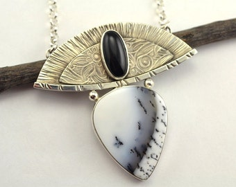 Black and White Stone Necklace - Metalsmith Necklace - Artisan Necklace