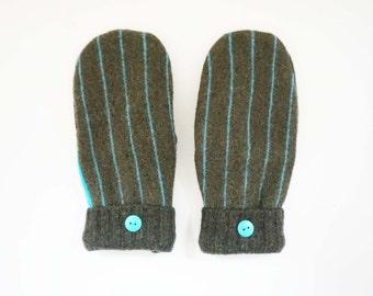 Green Stripe Felted Wool Mittens