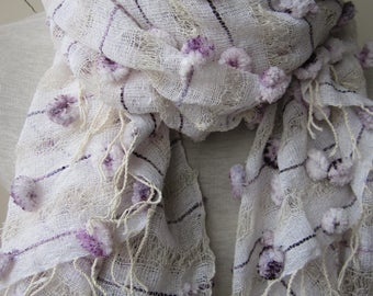 Lavender linen pom pom scarf-linen lover gift scarf-hand dyed linen scarf-women's scarves-woman fashion accessories-Turkish-wedding shawl