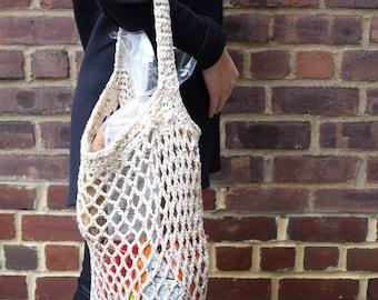 Eco-Friendly reusable grocery shopping BUCKET bag - handmade cotton shopping tote - reusable shopping tote - earth friendly market bag