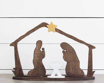 Wood Nativity • Creche • Manger Scene • Rustic Christmas • Farmhouse Decor • Modern Christmas • Nativity Set • Farmhouse Christmas