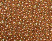 Vintage Floral Fabric, 70s Fabric Remnant, Cotton Floral Fabric, Brown Fabric, Retro Fabric, Calico Fabric - 7/8 Yard - CFL2026