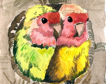 ACEO Limited Edition 1/25- Happy together, Lovebirds, Bird art print of original watercolor by Anna Lee, Home decor, Gift for bird lovers