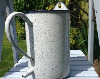 Enamel hanging jug, vintage enamel container, white and blue splatterware, wall hanging jug