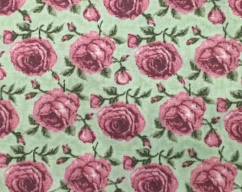 Cotton Fabric / Pink Rose Fabric / Vintage Fabric / Rose Cotton Fabric / Quilting Fabric / Floral Fabric /