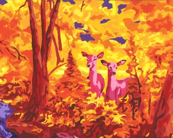 Deer in Forest Colorful Paint-by-Number Print