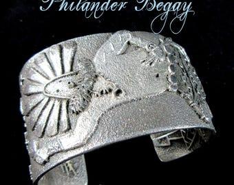 Navajo/Hopi~PHILANDER BEGAY~Ceremonial Yei'bi'Chei Night Dancer~925~Tufa Cast Cuff