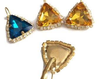 Swarovski Triangle lever back earrings - 18k gold plated lever earrings real swarovski rhinestones