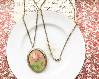 Vintage Locket Collection: Red Rose Cameo on Antiqued Etched Brass Locket. 26 Inch Necklace; Antique Bronze; Whimsical; Victorian