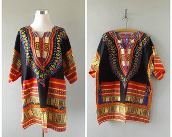 dashiki mini dress blouse | vintage 90s bright ethnic print oversize cotton hippie boho shirt size xl/extra large 1990s hippy bohemian top