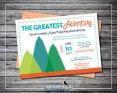 Printable Mountain Baby Shower Invitation - Adventure Blue, Green and Orange - Boy, Girl, Gender Neutral Baby Shower Invitation