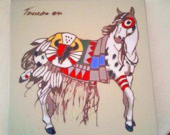 """Teissedre tile ,1984 ,WAR HORSE,8"""" by 8"""" vintage"""