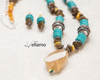 Huge statement necklace with natural Baltic amber, dark colored, unpolished beautiful tribal beads, blue turquoise rondelles, huge quartz