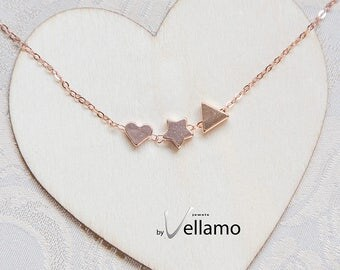 Dainty heart rose gold filled initial necklace, minimalistic heart, star, triangle, cute minimal gold, dainty jewelry layering necklace