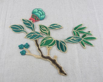 Green Branch Embroidered Appliques, Fabric Flower Patch