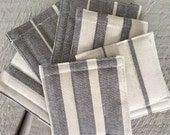 SALE!!!! Coasters (6) Country Modern Cotton Linen Towel Fabric Christmas Holiday