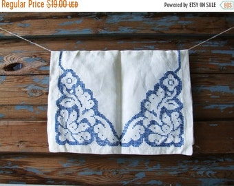 SALE Danish Vintage Table Cloth White And Blue