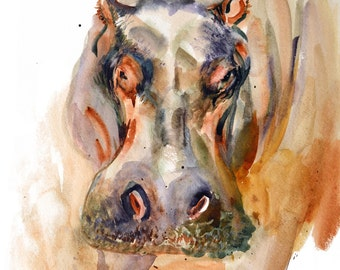 Hippo watercolor print, African big 5 animals, giclee pippopotamus 8x10 print