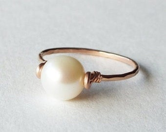 ON SALE Freshwater Pearl Rose Gold Filled Ring - Pearl Ring - Rose Gold Ring - Stacking Ring - Rose Gold Jewelry - Wedding Ring