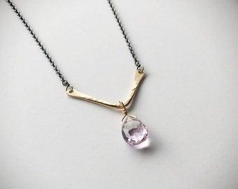 ON SALE Gold Filled Hammered V and Gemstone Necklace - Everyday Necklace - Gold Filled or Sterling Chevron Necklace - Gemstone Necklace