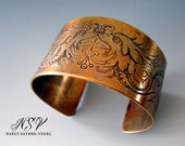 Etched eagles cuff bracelet  historical drawing