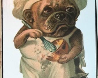 Pug Chef Print Decoupaged on Wood