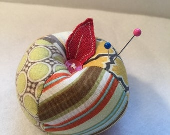 Patchwork Apple Pin Cushion in Gold and Green