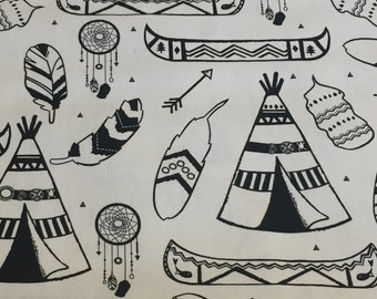 Teepee , Dream catcher , feather , arrow , fabric by the yard , black and white fabric