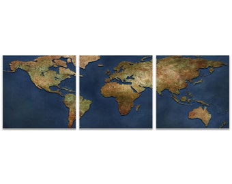 World Map Art '1800s World Map Triptych Large' by Ben Judd - Rustic Wall Decor Historic Artwork on Metal or Acrylic