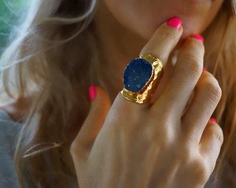 Deep Blue - Titanium Druzy Agate Statement Cigar Ring