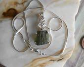 Herkimer Moldavite Silver Wrapped Pendant