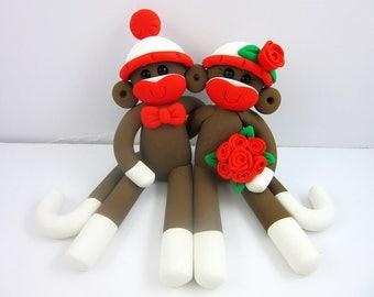 Mr Mrs Bride and Groom Sock Monkey Couple Wedding Cake Topper