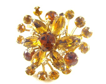 Rhinestone Brooch Topaz Golden Flower Classic Layered Tiered Design Riveted Construction Beau Jewels Judy Lee Style Swedgie