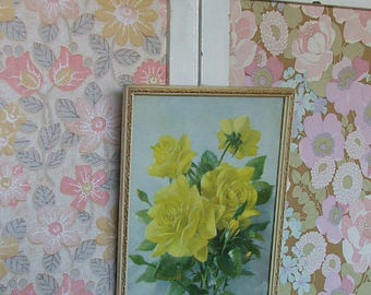 Small Vintage 'Yellow Roses' Floral Picture/Print