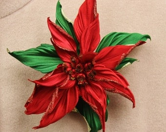 Poinsettia brooch, fabric flower, large flower brooch, textile broch, gift for her, silk flower corsage, large flower corsage