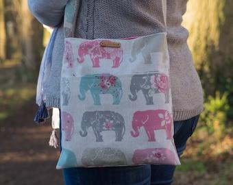 Elephant cross body messengerstyle  bag, small purse, elephant gifts, cross body bag, cross body purse, gift for mum, gift for girls