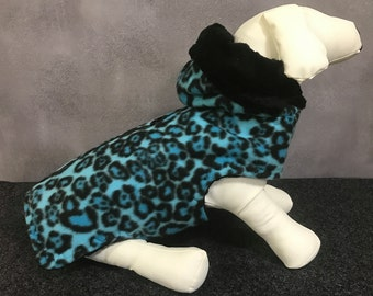 OUTERWEAR:  Winter Blue Leopard Dog Coat