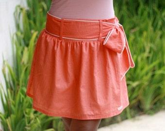CHRISTMAS SALE Bridesmaid Skirt / Coral Skirt / Mini Skirt with Sash