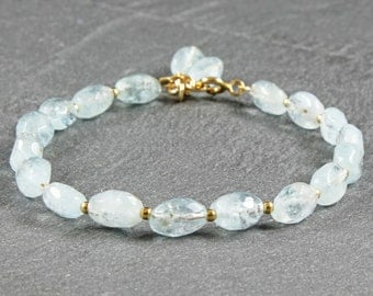 Aquamarine Bracelet, Gold-filled, light blue gemstone, semipresious, delicate, gift for her, classic, elegant, feminine, March gemstone,3288