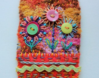 Flower Pot, original textile art, hand embroidery