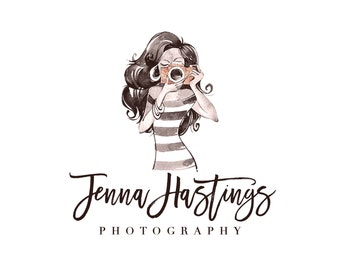 Premade Portrait Photography Logo and Watermark,  Girl with Camera Logo Design, Fashion Photography Logo, Chic & Glam Logo 381