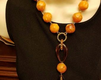 Bold & Beautiful Burnt Orange/ Golden Yellow  Necklace!