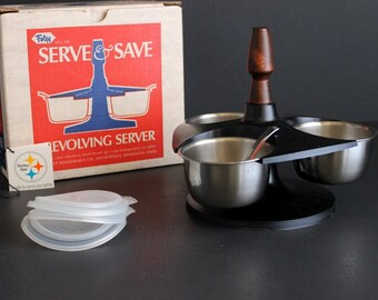 Vintage Serve and Save Condiment Server by Foley Mid Century Stainless Steel Cups with Plastic Lids and Plastic Lazy Susan Stand