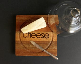Vintage Covered Cheese Board With Glass Cloche Typograghy Mahogany Wood Serving Plate by Dolphin