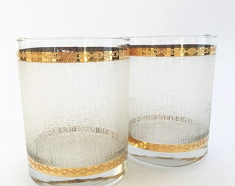 Vintage Glasses Etched Textured Striated Culver Chic Gold Rim Geometric Raised Gold Rim Set of Two Old Fashioned Rocks Glass  Bar Ware