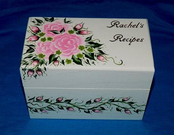 Wedding Gift Recipe Cards : Wedding Recipe Box Personalized Wood Recipe Card Holder Shabby Chic ...