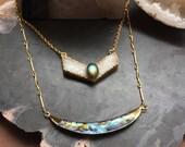 Gold Plated Druzy Quartz w/ Labradorite on vintage chain