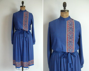 1970s paisley print day dress • 70s sheer blue secretary dress • vintage for all we know dress