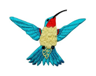 ID 0495B Blue Feathered Flying Hummingbird Patch Embroidered Iron On Applique