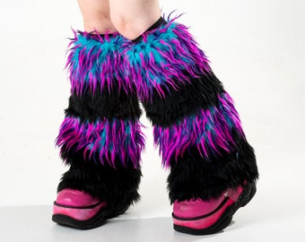 Pawstar Party Furz Furry Leg Warmers Fluffies Fuzzy Boot Cover Cuffs Costume Twilight Neon Blue Purple Pink Yellow Orange Red Teal 2555